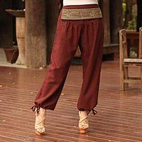 Cotton capri pants, 'Thai Riches' - Cotton capri pants