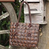 Coconut shell Tote handbag, 'Thai Garden' - Coconut shell Tote handbag