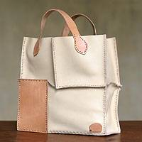 Leather handbag, 'Urban Safari in Ivory' - Leather handbag