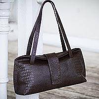 Leather handbag, 'Rugged Brown Chic' - Leather handbag