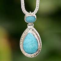 Amazonite pendant necklace, 'Cool Temptation' - Sterling Silver and Amazonite Pendant Necklace