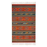 Zapotec rug, 'Diamonds at Dusk' (6x10) - Zapotec rug