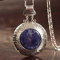 Sodalite pendant necklace, 'Legends' - Sodalite pendant necklace