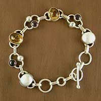 Pearl and citrine link bracelet, 'Bliss' (India)