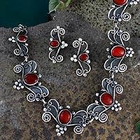 Carnelian jewelry set,
