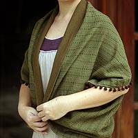Cotton shrug, 'Secret Jade' - Cotton Shrug Style Jacket in Olive Green