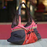 Cotton hobo handbag, 'Hmong Color' - Floral Leather Accent and Cotton Embroidered Shoulder Bag