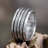 Men's sterling silver ring, 'Valiant' - Men's Unique Sterling Silver Band Ring