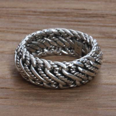 Men's sterling silver band ring, 'Infinity Wave' - Men's Unique Sterling Silver Band Ring