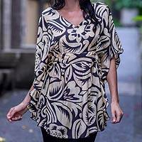 Silk caftan, 'Savannah Sunset' - Handmade Floral Silk Caftan Top