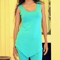Jersey tunic, 'Kuta Turquoise' - Unique Jersey Knit Tank Top