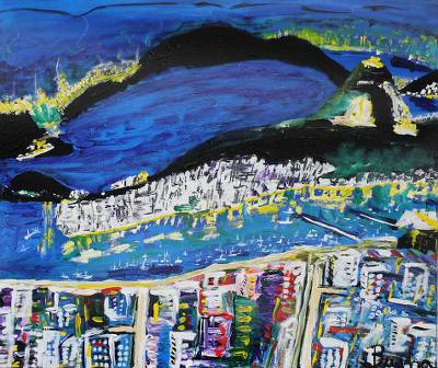 'Rio de Janeiro' - Landscape Naif Painting from Brazil