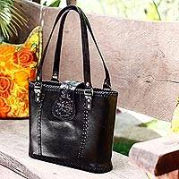 Leather tote bag, 'Midnight Sunflower' - Unique Leather Tote Handbag from Mexico