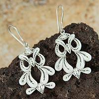 Sterling silver dangle earrings, 'Filigree Owls' - Handcrafted Fine Silver Dangle Owl Earrings