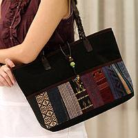 Leather accent cotton handbag, 'Black Thai Chic' - Unique Hand Woven Cotton Shoulder Bag