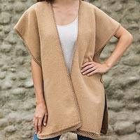 Alpaca blend cape, 'Piura Princess' - Warm Tan Cape in Alpaca Blend from Peru