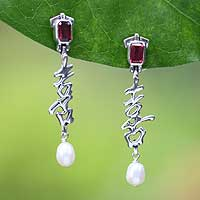 Pearl and rhodolite dangle earrings, 'Happiness' (Indonesia)