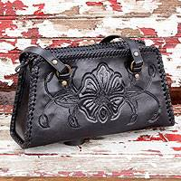 Leather handbag, 'Midnight Rose' - Handcrafted Floral Leather Shoulder Bag