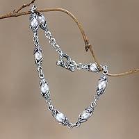 Cultured pearl link bracelet,