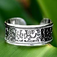 Sterling silver cuff bracelet, 'Feeding the Animals' - Animal Themed Sterling Silver Cuff Bracelet