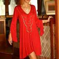 Tunic, 'Exotic Red' - Embroidered by Hand Tunic from Indonesia