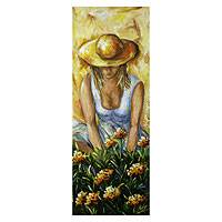 'Picking Flowers' - Acrylic Impressionist Painting of Woman with Flowers
