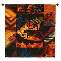 Wool tapestry, 'Fragment of Paracas' - Multicolored Wool Tapestry from Andean Artisan