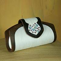 Silk and leather handbag,