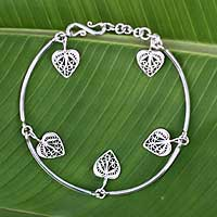 Sterling silver charm bracelet, 'Filigree Hearts' - Heart Shaped Silver Filigree Bracelet