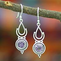 Amethyst dangle earrings, 'Orissa Mystique' (India)