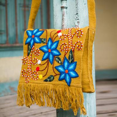 Wool shoulder bag, 'Bluebells' - Embroidered Wool Shoulder Bag from Peru