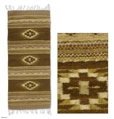 Zapotec wool rug, 'Earth Stars' (2x3.5) - Zapotec wool rug (2x3.5)