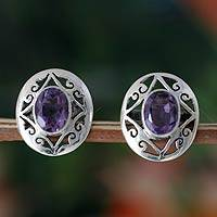 Amethyst button earrings, 'Lilac Dew' - Amethyst and Sterling Silver Button Earrings