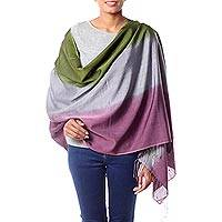 Silk and wool shawl, 'Prism' - Women's Multicolor  Wrap Silk Wool Shawl