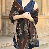 Wool shawl, 'Teal Bouquet' - Women's Floral Woven Wool Shawl