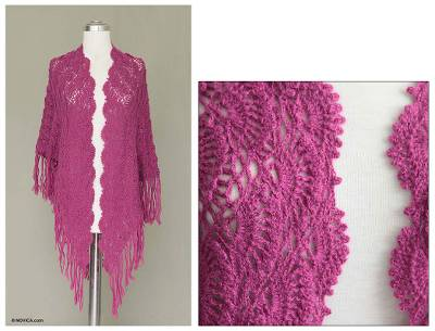 100% alpaca shawl, 'Colonial Elegance' - Fair Trade Alpaca Wool Crochet Shawl