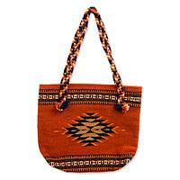 Zapotec wool shoulder bag, 'Ojo de Dios' - Zapotec wool shoulder bag