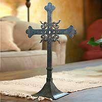 Wrought iron cross, 'Tongues of Fire' - Hand Made Cross Metal Sculpture