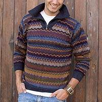 Men's 100% alpaca sweater, 'Mountain Life' - Unique Men's Alpaca Wool Striped Pullover Sweater