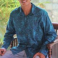 Men's cotton batik shirt, 'Turquoise Cosmos' - Men's Indonesian Batik Cotton Shirt