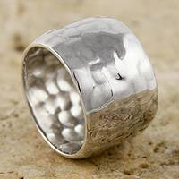 Sterling silver ring, 'Drum' - Wide Band Ring Sterling Silver Peruvian Jewelry