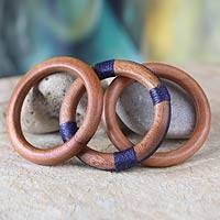 Wood bangle bracelets, 'Fulani Muse in Navy' (set of 3) - Wood bangle bracelets (Set of 3)