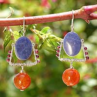 Sodalite and agate chandelier earrings,