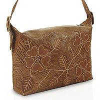 Leather shoulder bag, 'Flower Gator' - Leather shoulder bag