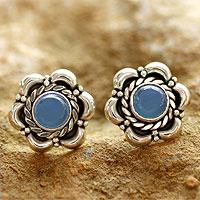 Blue chalcedony flower earrings,