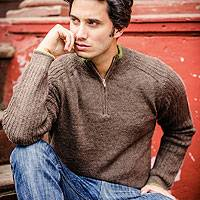 Men's fitted alpaca blend pullover, 'Forest Traveler' - Men's Peruvian Alpaca Wool Pullover Sweater