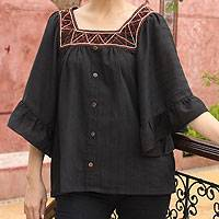 Cotton blouse, 'Ruffled Black Charm' - Handcrafted Cotton Button Up Blouse