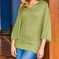 Alpaca blend hoodie sweater, 'Green Trujillo Lady' - Alpaca Blend Hoodie Sweater from Peru