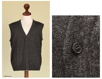 100% alpaca men's vest, 'Arequipa Mist' - Men's Hand Crafted Alpaca Wool Cardigan Vest