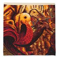Wool tapestry, 'The Nest' - Wool tapestry
